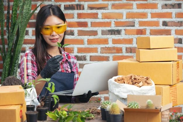 Sprzedaż roślin online; kobieta trzyma garnek roślin i za pomocą laptopa