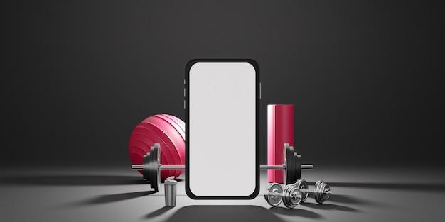 Sprzęt do fitnessu sportowego: makieta mobilna z białym ekranem, czerwona mata do jogi, fit ball, butelka wody, hantle