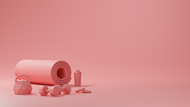 Sprzęt do fitnessu sportowego, mata do jogi, kettlebell, butelka wody, hantle w kolorze różowym