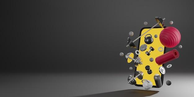 Sprzęt do fitnessu sportowego: mobilna makieta z żółtym ekranem, czerwona mata do jogi, fit ball, butelka wody, hantle i sztanga