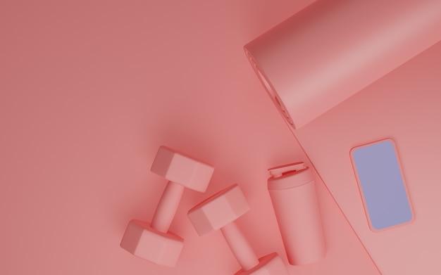 Sprzęt fitness sportowy: makieta mobilna z białym ekranem, mata do jogi, butelka wody, hantle w kolorze różowym