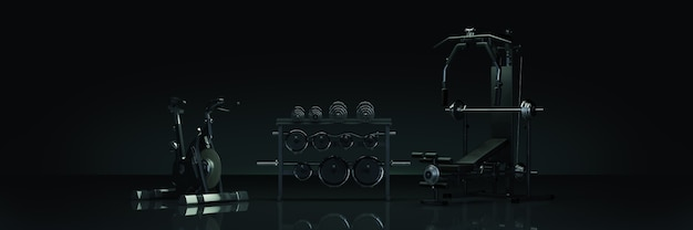 Sprzęt gimnastyczny w ciemnym tle renderowania 3d