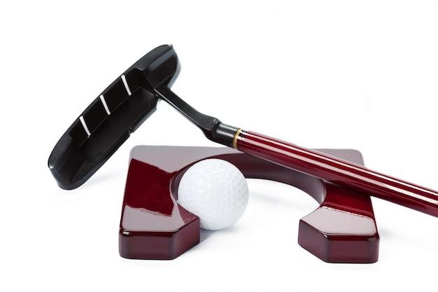 Sprzęt golfowy na białym tle