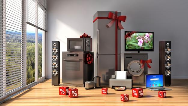 Sprzęt gospodarstwa domowego ze wstążkami i zniżkami we wnętrzu