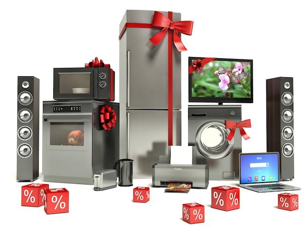 Sprzęt gospodarstwa domowego ze wstążkami i zniżkami