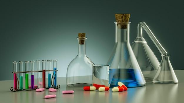 Sprzęt laboratoryjny realistyczne szklane rurki 3d zlewki do kolb i inne laboratorium chemiczne i medyczne