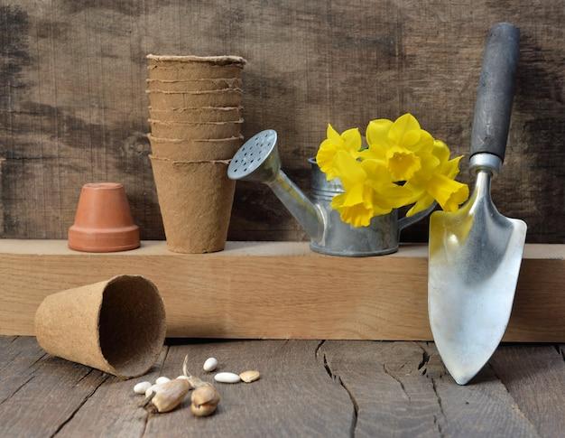 Sprzęt ogrodniczy ułożone na drewnianym tle z bukietem żonkile na konewce
