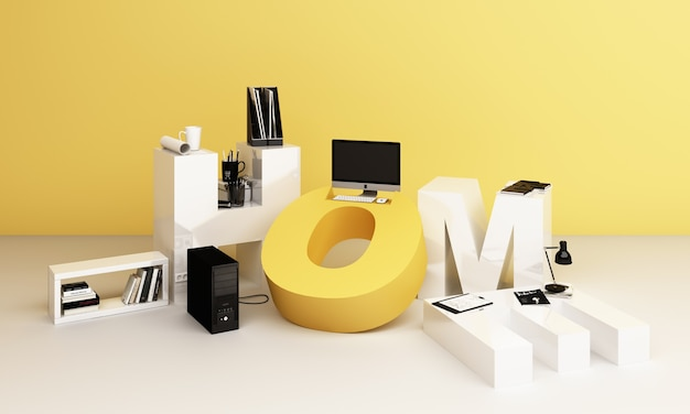 Sprzęt roboczy i komputer. jest otoczony literami wokr form home w żółtej tonacji. renderowanie 3d