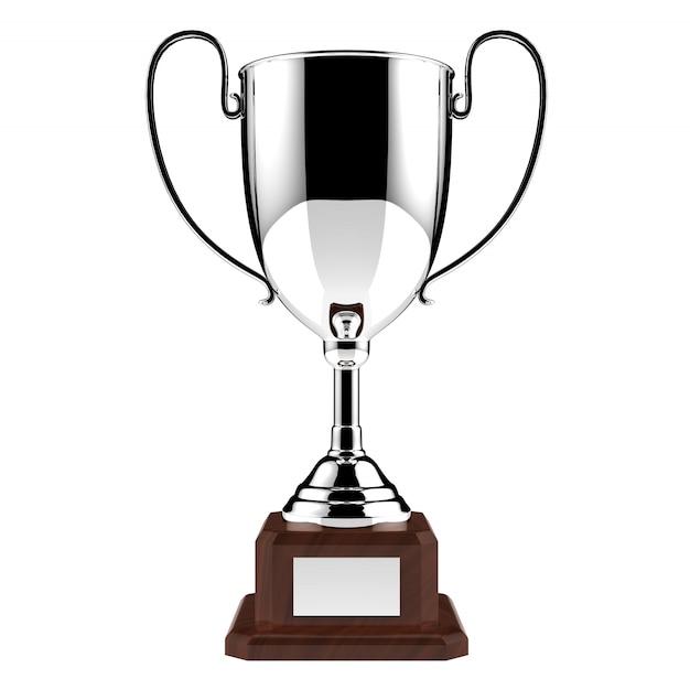 Srebny nagrody trofeum odizolowywający na bielu z ścinek ścieżką