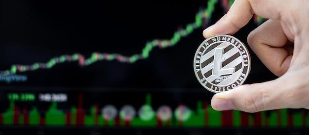 Srebrna moneta kryptowaluta litecoin ltc z tłem wykresu świecowego, crypto to pieniądz cyfrowy