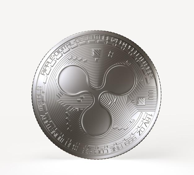 Srebrna moneta kryptowaluty z symbolem marszczyć na awersie na białym tle. ilustracja renderowania 3d.