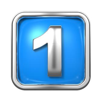 Srebrne cyfry w ramce, na niebieskim tle. numer 1