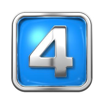Srebrne cyfry w ramce, na niebieskim tle. numer 4