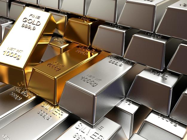 Srebrne i złote sztabki ułożone w rzędy