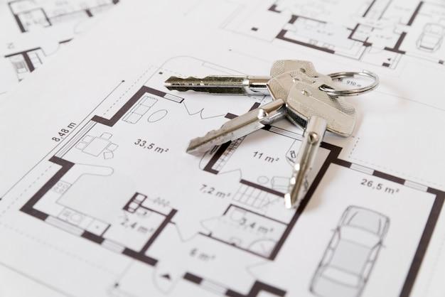 Srebrne klucze węża na tle rysunku architektonicznego