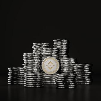 Srebrny binance (bnb) stos monet w czarnej scenie, cyfrowa moneta walutowa do finansów, promująca wymianę tokenów. renderowanie 3d