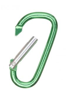 Srebrny i zielony karabińczyk aluminiowy w kształcie litery d.