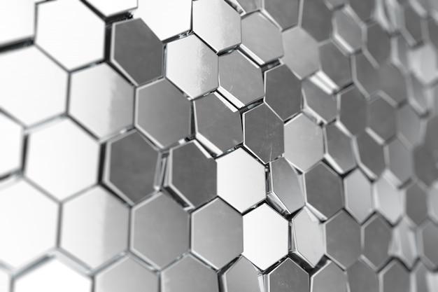 Srebrny streszczenie sześciokątne tło z efektem głębi pola. struktura dużej liczby sześciokątów. stalowa honeycomb ściany tekstura, błyszczący sześciokąt gromadzi się tło, 3d rendering
