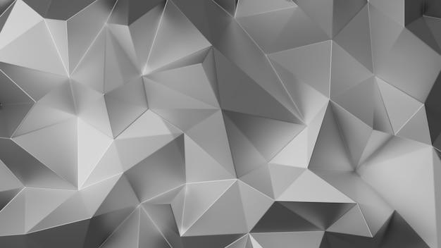Srebrny trójkąt niski wielokąt. szary geometryczny trójkątny wielokąt. ilustracja renderowania 3d.