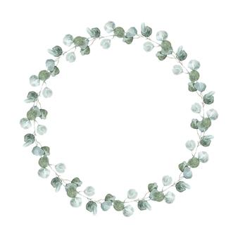 Srebrny wieniec eukaliptusowy. akwarela eukaliptusowa okrągła rama lagom autumn na zaproszenia ślubne i wydarzenia.