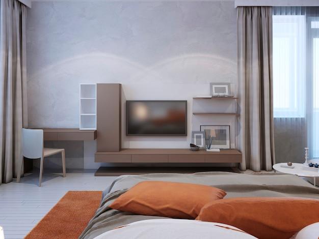 Średni ciemnoszary system ścian we współczesnej sypialni