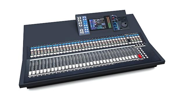 Średniej wielkości szara konsola mikserska do pracy w studio i występów na żywo na białym tle