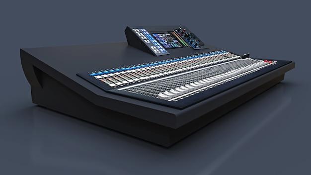 Średniej wielkości szara konsola mikserska do pracy w studio i występów na żywo na szarym tle. renderowanie 3d.