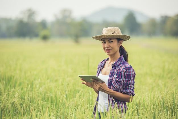 Średniorolna pozycja w ryżowym polu z pastylką.