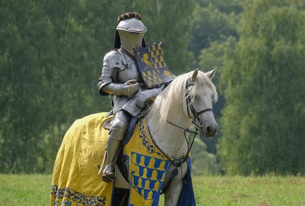 Średniowieczny rycerz w metalowej zbroi na koniu w polu