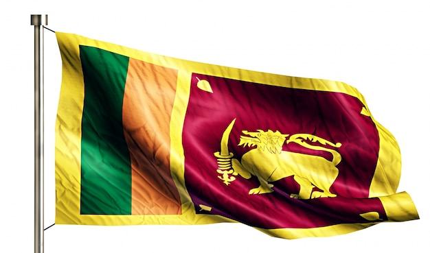 Sri lanka flaga narodowa pojedyncze 3d białe tło