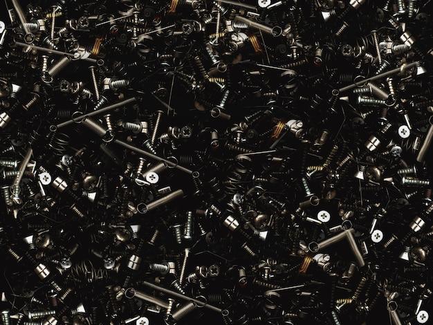 Śruby i wkręty ciemna tekstura i kompozycja do kreatywnych projektów technicznych