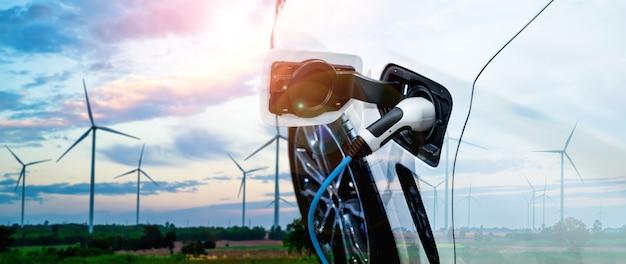 Stacja ładowania samochodów elektrycznych w koncepcji zielonej zrównoważonej energii