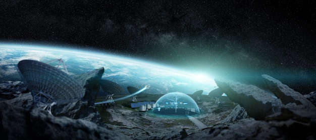 Stacja obserwatorium w kosmosie elementy renderowania 3d tego obrazu dostarczone przez nasa