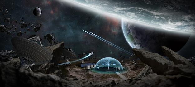 Stacja Obserwatorium W Przestrzeni Renderowanie 3d Premium Zdjęcia