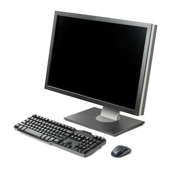 Stacja robocza komputera na białym tle