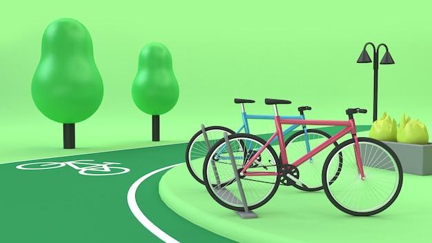 Stacja rowerowa z rowerów pasa zieleni parki renderowania 3d cartoon transportu przyrody środowiska koncepcji