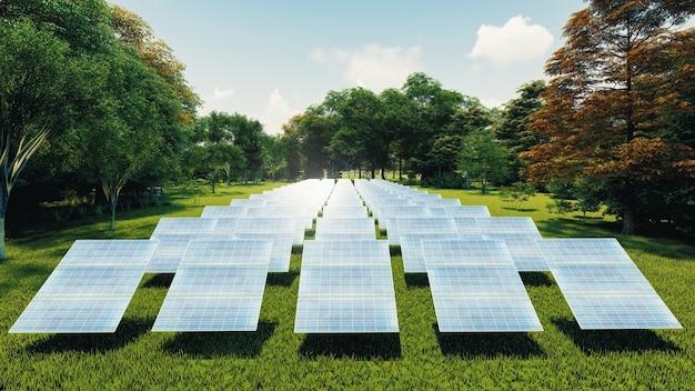 Stacyjne panele słoneczne na pięknym zielonym trawniku. do wytwarzania energii elektrycznej. renderowanie 3d