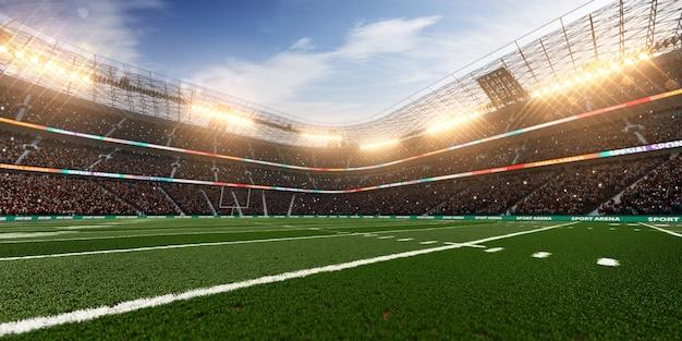 Stadion futbolu amerykańskiego z tłem reflektorów, renderowania 3d