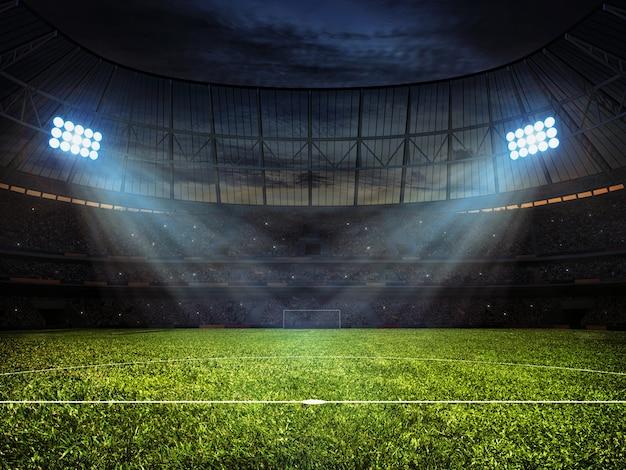 Stadion piłkarski z reflektorami