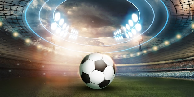 Stadion w świateł i błysków, boisko do piłki nożnej