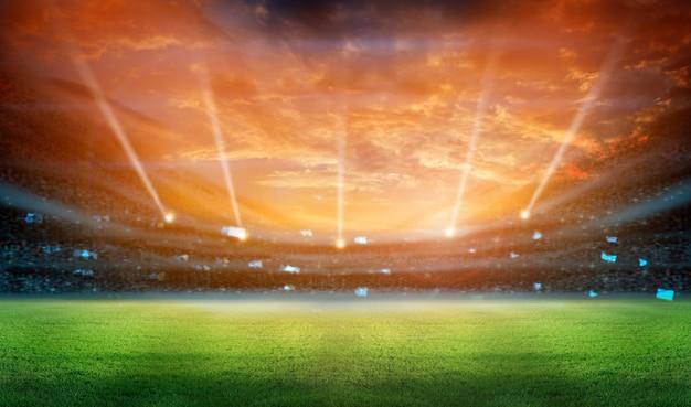 Stadion w światłach i miga renderingu 3d