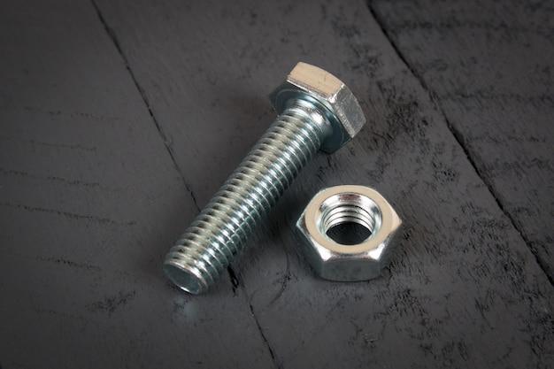 Stalowa metalowa śruba, podkładka i nakrętka