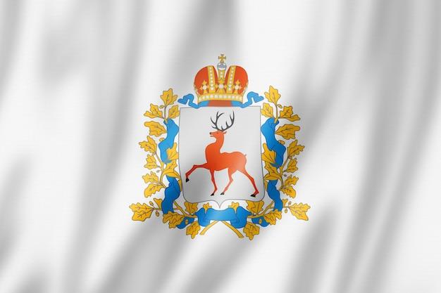Stan niżny nowogród - obwód - flaga, kolekcja machająca banerem rosji. ilustracja 3d