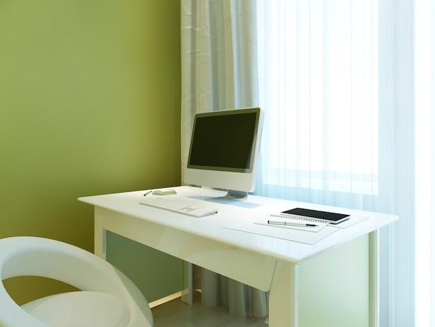 Stanowisko pracy z makietowym monitorem na białym stole z akcesoriami biurowymi. renderowania 3d.