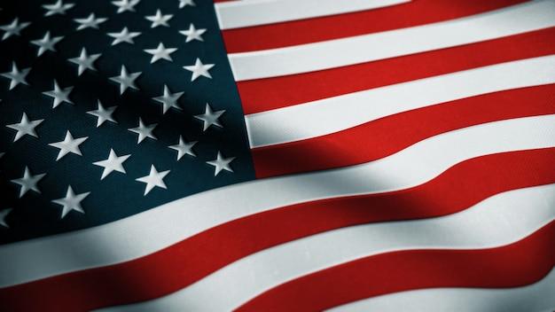 Stany zjednoczone macha flagą. flaga usa. renderowanie 3d.