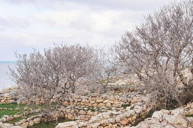 Stara brudna piła taśmowa i inne maszyny do obróbki bloków kamiennych stoją w kamieniołomie do wydobywania marmuru