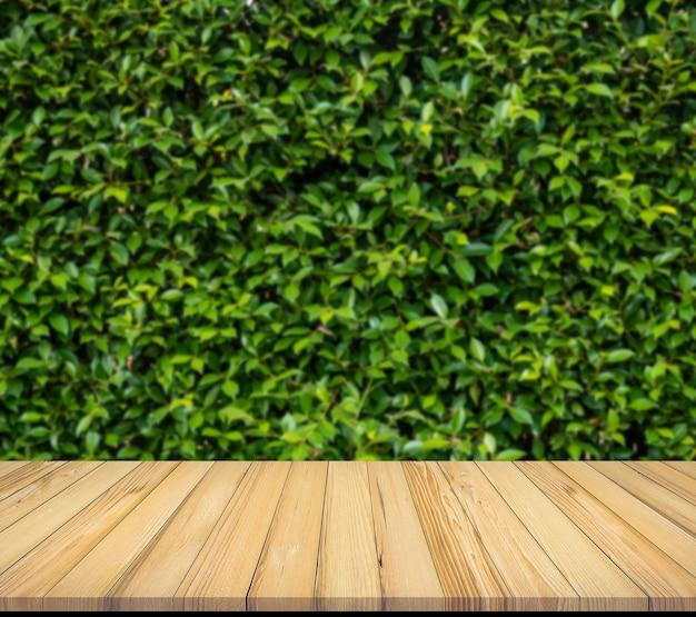 Stara drewniana deska z abstrakcjonistyczną naturalną zielenią opuszcza tło dla produktu pokazu