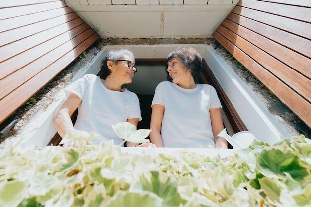 Stara kobieta i jego córka bawią się w oknach podczas super słonecznego dnia, uśmiechając się szczęśliwa koncepcja emerytury, dzień matki, rośliny i relaks