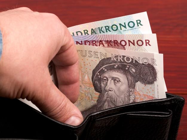 Stara korona szwedzka w czarnym portfelu
