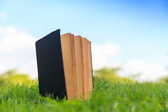 Stara książka na zielonej trawie pod niebieskim niebem
